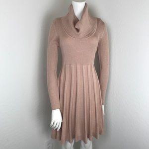 Calvin Klein Pink Rose Gold Knit Long Sleeve Dress